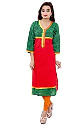 MSONS Women's Red Embroidered Button V-Neck Long Cotton Kurti
