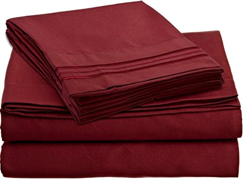 Bed Sheet Sets - Hotels Colection 2000 (New Edition) Supreme 4 Pieces Available in 15 Colors (Full, Dark Red)