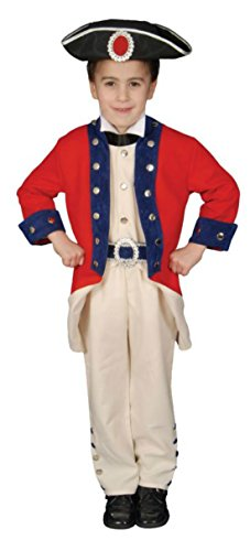 Boys Colonial Soldier Kids Child Fancy Dress Party Halloween Costume