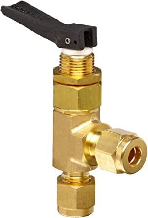 "Ham-Let H1200 Series  Brass Toggle Valve, Angle, 1/4"" Let-Lok Fitting"