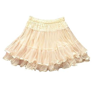 Aubig Women Ladies Skirt Lace Waist Elastic Mesh Tulle Printing Flowers Pleated Midi Dress Ivories