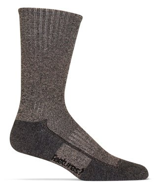 Hiking Medium Cushion Crew Sock Brown Heather MD by Feetures
