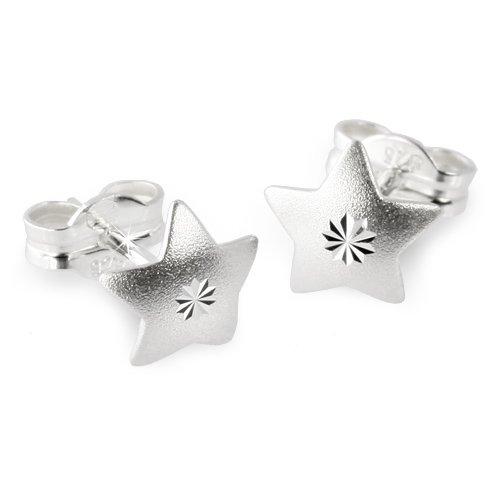 SilberDream earring star 925 Sterling Silver SDO502