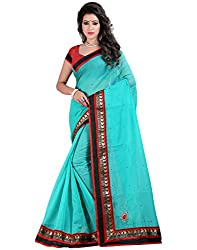 Blue Color Chanderi Base Stones Work Saree With Unstitched Blouse