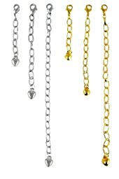 Necklace Bracelet Extender Gold & Silver Tone (6 Pcs) (F210)