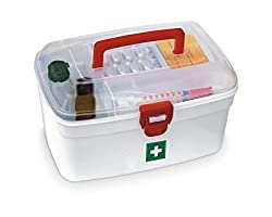 CONNECTWIDE® CONNECTWIDE® Milton Medical box, First Aid Emergency Medical Kit Box, Removable Inner Tray and Carrying Handle - 2 Layer Design (Multipurpose Organizer), Color white with red combination, Approx 20 Litre, 500 Gm, 19.5 * 12 * 10.5 CM