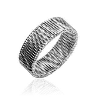 bungsa® Anello Flessibile maglie acciaio inox argento 49-70(anello per uomo e donna gioielli alla moda anello Mesh partner anelli donne uomini acciaio chirurgico), acciaio inossidabile, 20, colore: argento, cod. 2536