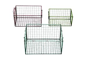 Benzara Metal Wire Basket in Different Colors, Red/Blue/Green, Set of 3