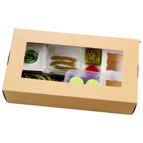PacknWood Large Kraft Paper Box With Window, 13.3