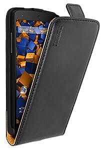 mumbi PREMIUM ECHT Leder Flip Case Google Nexus 5 Tasche schwarz