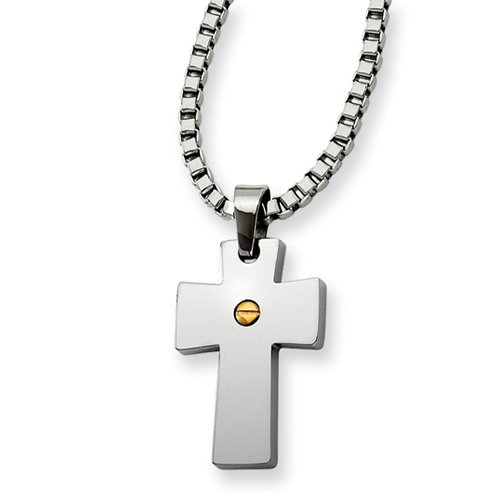 Stainless Steel Gold Ip-Plated Cross Pendant 18In Necklace