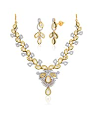 "Peora 18 Karat Gold Plated Kundan ""Amodini"" Necklace Earrings Set (PN419GJ)"
