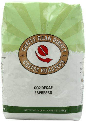 Coffee Bean Direct CO2 Decaf Espresso Coffee, 5-Pound Bag,Net 2265 g.