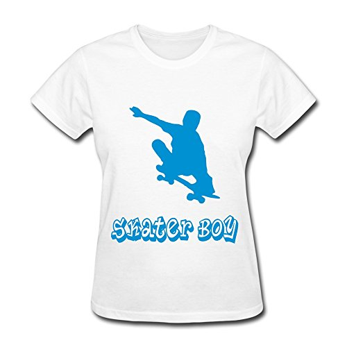 100% Cotton Funny Skater Boy Tee Shirts For Lady'S - Round Neck front-620621