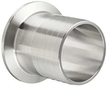 "Parker Sanitary Tube Fitting, Stainless Steel 304, Rubber Hose Adapter, 1-1/2"" Tube OD x 1-1/2"" Hose ID"