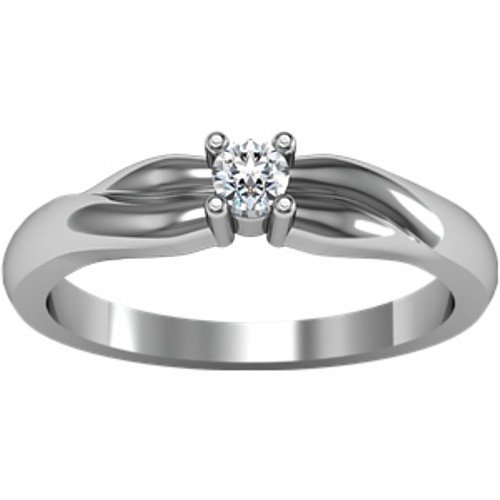 14K White Gold Solitaire Diamond Ring - 0.10 Ct. - Size 6