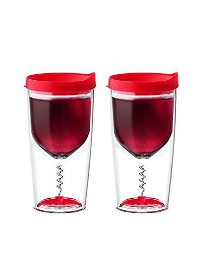 asobu Set of 2 Vino 2 Go with Corkscrew, Red