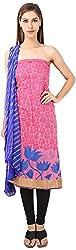 DESINER CLOTHLINE Women's Chanderi Unstitched Dress Material (Cl-9, Pink)