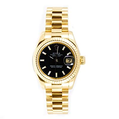 Rolex Ladys President Style Heavy Band 18k Yellow Gold Model 179178 Fluted Bezel Black Stick Dial by Rolex