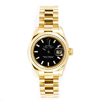Rolex Ladys President New Style Heavy Band 18k Yellow Gold Model 179178 Fluted Bezel Black Stick Dial