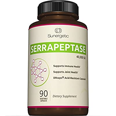 Best Serrapeptase Enzyme Supplement - Natural Joint, Sinus & Immune Support - Premium High Potency Serrapeptase Enzymes Formula - 40,000 SU Per Capsule- 90 Enteric Coated Vegetable Capsules