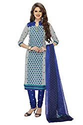RK Fashion Womens Cotton Un-Stitched Salwar Suit Dupatta Material ( SANDHYA-PAYAL-2025-Blue-Free Size )