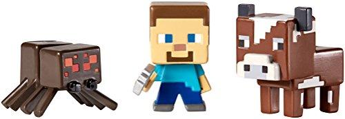 つるはしやスパイダーとMinecraftのミニフィギュア3パック牛、スティーブ   Minecraft Mini-Figures 3 Pack Cow, Steve with pickaxe and Spider