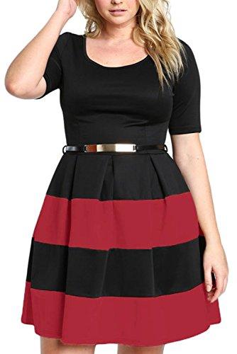 Chase Secret Womens Stripe Party Skater Swing Dress Plus Size XXX-large Burgundy