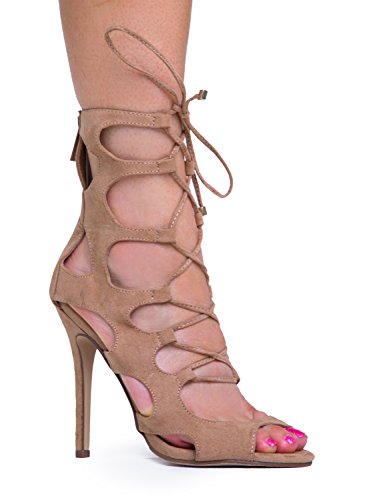 Lace Up Peep Toe High Heel Sandal 10