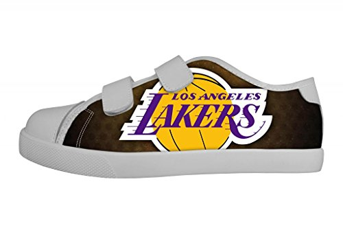 Nba Kid'S Canvas Shoes Basketball Los Angeles Lakers Team Logo Nonslip Velcro Sneakers For Boy