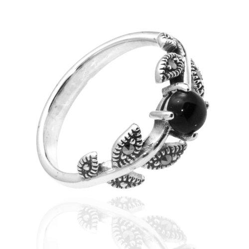 927 Oxidized Sterling Silver Ivy Leaf Vine Ring Swarovski Marcasite & Black Onyx Agate Ring Size 7,8