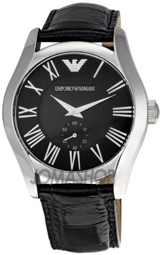 Emporio Armani Men's AR0643 Classic Black Leather Black Roman Numeral Dial Watch