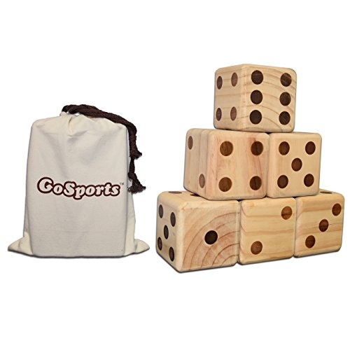 Great Deal! GoSports Giant Wooden Playing Dice Set for Jumbo Size Fun (Includes 6 Dice and Canvas Ca...