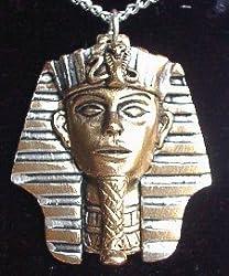 Egyptian King Tut Tutankhamun Amulet Pewter Pendant Necklace