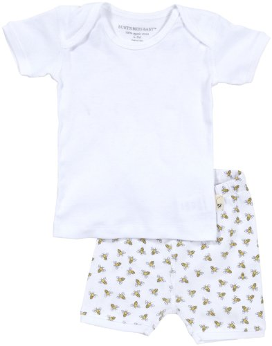 Burt'S Bees Baby Unisex Baby Essentials Solid Tee/Print Shorts (Baby)-Cloud - 3-6 Months front-1028202