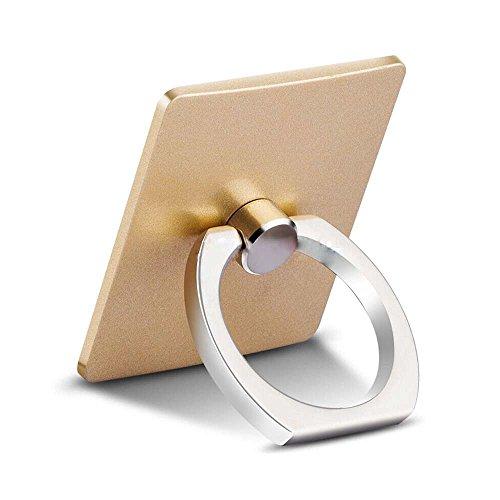 OSEI スマホリングスタンド バンカーリング 360°回転リングホルダー スマートフォン・タブレットに簡単装着で 落下防止 スタンド機能 (ゴールド)