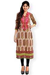 VESH Womens Straight Long Multi Coloured Pakistani Style Kurti, Rounded Neck with Split 'V', Embellished with Floral Embroidery Pattern