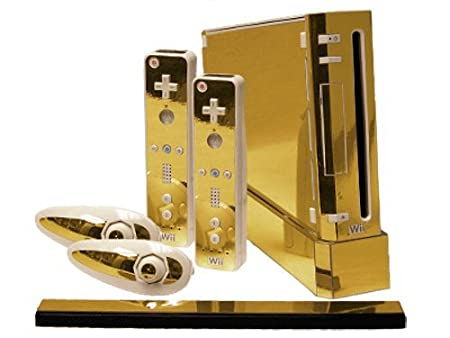 Nintendo Wii Skin - NEW - GOLD CHROME MIRROR system skins faceplate decal mod