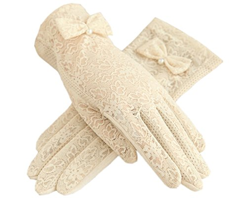 Urban CoCo Vintage Summer Lace Bowknot Short Dress Gloves Wedding Gloves (Beige)