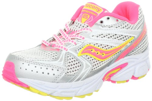 7e0c524826e5 The Features Saucony Girls Cohesion 6 Lace Running Shoe Little Kid Big Kid  White Pink Citron 3 5 W US Big Kid -