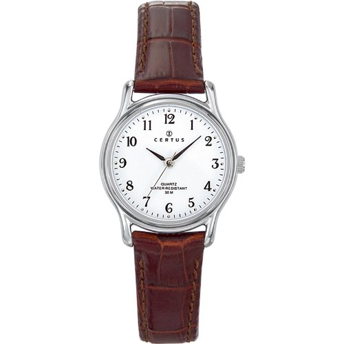 Certus 644379 - Ladies Watch - Analogue Quartz - White Dial - Brown Leather Bracelet