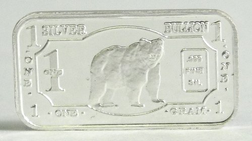 (3) 1 Gram .999 Pure Fine Solid Silver Grizzly Bear '2013 Endangered Animals Series-north america' Bullion Ingot Coin