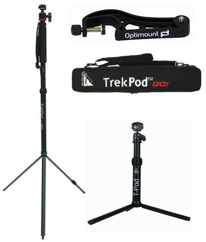 TrekPod Go! Monopod/tripod/hiking Staff Essentials Kit with T-pod, Case and Optimount