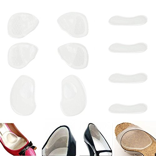 Complete Foot Protection, NO MORE SORE FEET, Set of 5 Pairs Reusable Comfortable Clear Silicone Shoes Inlays Including Cushions, Self Adhesive / Sticking Insoles And Non Slip Pads / Inserts By VAGA