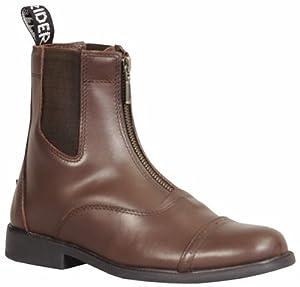 TuffRider Women's Baroque Front Zip Paddock Boots with Metal Zipper, Mocha, 10