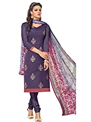 STYLE N DEAL Women's Chanderi Silk Unstitchced Dress Material (339D037_Violet_Free Size )