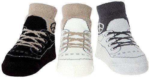 3 paia di calzini per neonato - suola antiscivolo -organza sacchetto regalo - da 0 a 9 mesi (Pace)