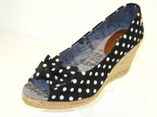 Womens, Ladies Picnic, Rope Heeled Wedge Espadrille Black Platform Peep, Open Toe Sandal Wedge