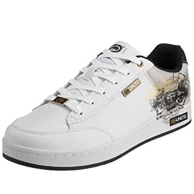 marc ecko s pratique porter trainer white black gold