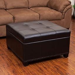 Hadley Bonded Leather Brown Storage Ottoman
